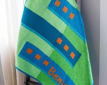 Baby Boy Quilt, Modern Baby Quilt Handmade, Blue and Green Personalized Infant Gift, Geometric Baby Blanket, Nursery Art, Newborn Bedding