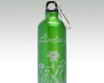 Green Water Bottle  - Choose Your Engraved Design and Font From Our Selections