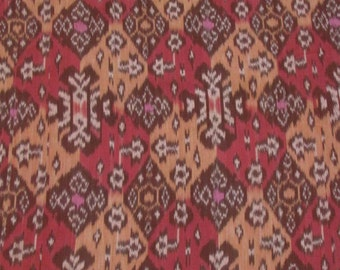 Hand woven red, orange, dark red patchwork cotton ikat fabric, textile by the yard
