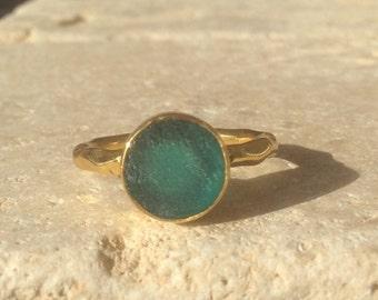 Raw Stone Ring, US 4.75, Raw Apatite Ring, Apatite Gold Ring, Rough Natural Gemstone, Rough Apatite Ring, Natural Apatite Gemstone Ring
