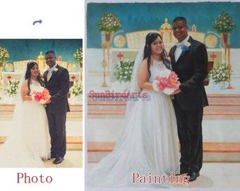 Custom portrait painting,Wedding oil portrait,oil painting from photo,order hand painted oil paintings,Two Person
