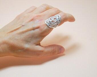 Om Sanskrit Ring Solid 925 Sterling Silver Plain Simple Classic OM Ring , Sanskrit Jewelry, Spiritual Wisdom Gift