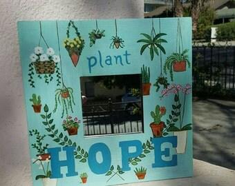 Plant Hope Inspirational Repurposed Mirror
