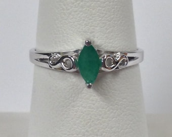 Natural Emerald Ring 925 Sterling Silver