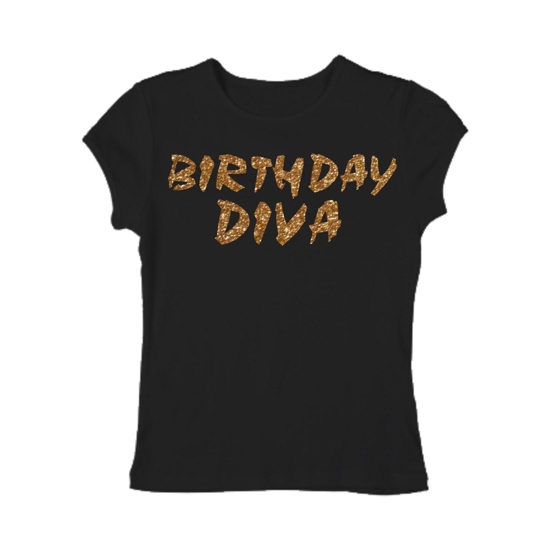 Birthday Diva Gold Glitter Shirt Birthday Shirt Adult