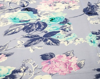 Pale Blue and Deep blue floral print fabric