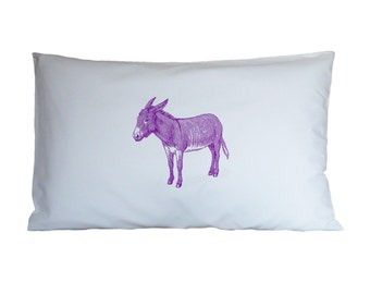 Purple donkey pillow case, cushion, bedding, pillow cover