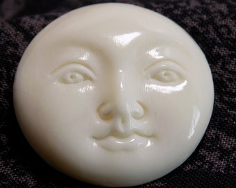 Round Moon Face Pendant -Hand Carved Bone - 1 and 1/4 inches tall. Z1-98