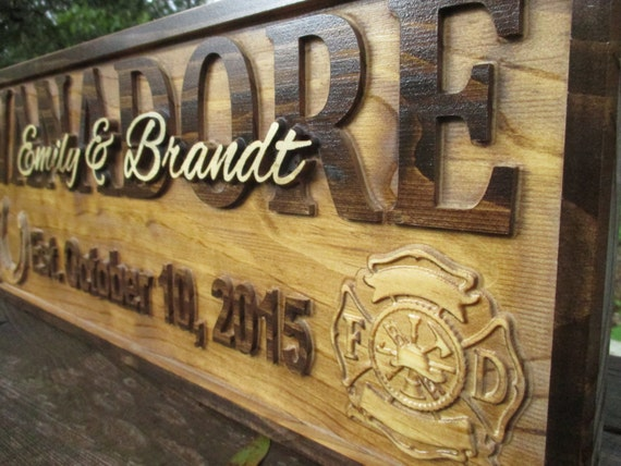 Fireman Wedding Gifts Personalized Family Name Signs Rustic