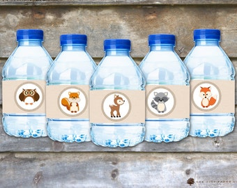 Woodland Water Bottle Labels, Woodland Animal Baby Labels, Woodland Water Labels, Woodland Shower Water Labels, Woodland Birthday Water, DIY
