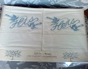 vintage pillowcases , Standard size , White, Blue His and Hers, vintage linens