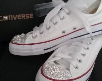 Wedding Sneakers, Wedding Converse, Bridal Shoes, Bridal Sneakers, Wedding Flats, Bling Shoes, Custom Sneakers, Strass, Bling Converse,