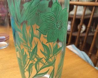 Vintage Hazel Atlas Tall Sour Cream Glass- Green Flower