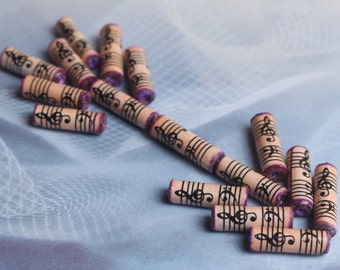 Music beads lined with purple - 16