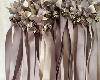 50 Wedding Wands/Wedding Ribbon Wands/Wedding Wand/Ivory and Silver