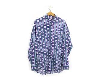 80s southwestern shirt - vintage 1980s - purple + teal - mens large