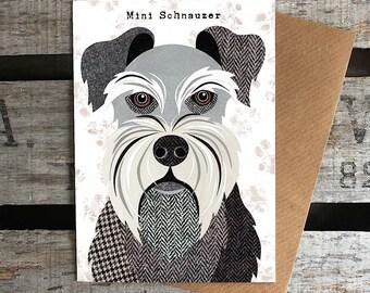 Mini Schnauzer dog greetings card