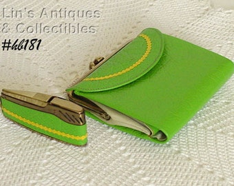 Vintage Princess Gardner Bright Green Wallet and Lighter (Inventory #HB181)