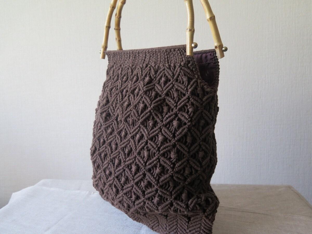 sac vintage en macram dark brown macrame plage sac sac. Black Bedroom Furniture Sets. Home Design Ideas