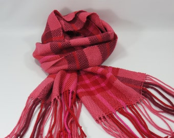 Woven Scarf, Red & Pink Plaid Woven Scarf,  Plaid Pattern Scarf, Hand Woven Scarf