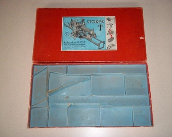 Stokys Metal Construction Set # 3a Vintage c1960 Red BOX ONLY