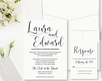 Whimsical Wedding Invitation, Black and White Invitations, Simple Wedding Invitation, Typographic Wedding Invites, Elegant