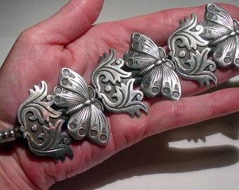 ARNOLD GOLDSTEIN Southwestern Sterling Silver Moth Butterfly CONCHO Bracelet