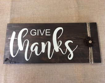 GIVE THANKS, Thanksgiving, Fall Decor Hand Painted Wood Sign