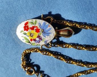 Vintage Gold Tone Guilloche Enamel Perfume Bottle Necklace