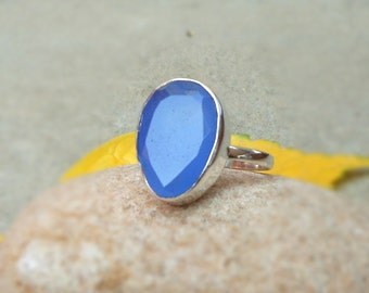 Blue Chalcedony Ring - Gemstone Rings - Bezel Ring - 925 Silver Ring - Quartz Ring size 7, Chalcedony Jewelry, Stack Ring, Gift for women's