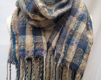 Light and airy handwoven wrap, blue/toffee check pattern, made with handspun wool