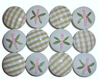 12 Custom Girls Sparkle Dragonfly & Gingham Hand Painted Drawer Pulls Knobs