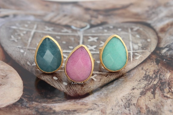 3 drop jade rings faceted gemstone adjustable ring teardrop
