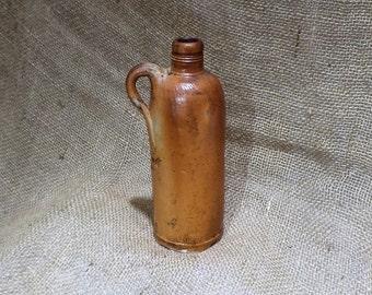 Antique Jug, Old Glazed German Clay Wine Jug or Mineral Water Jug