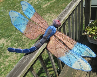 Dragonfly Art - Wall Hanging - Home Decor - Housewarming Gift - Wedding Gift - Birthday Gift - Blue and Brown Skimmer