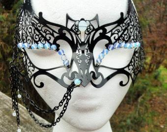 mardi gras mask, opalite mask, sri lanka moonstone mask, mask with jeweled spider, masquerade mask, jeweled masquerade mask, ooak