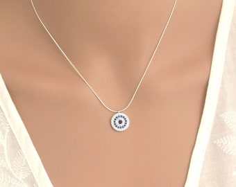Silver cubic zirconia evil eye necklace,Hamasa CZ necklace,Lucky charm necklace, CZ evil eye , CZ evil eye necklace,Jewish jewelry,kabala