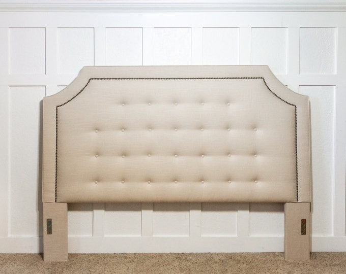 Upholstered Headboard, King or Queen Size, Belgrave shape with buttoned tufts, Linen fabric with antique nailhead