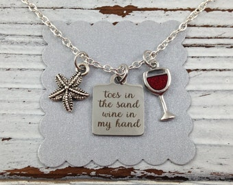 Beach Charm Necklace, Beach Jewelry, Toes in the Sand Wine in My Hand, Wine Glass Charm, Starfish Charm