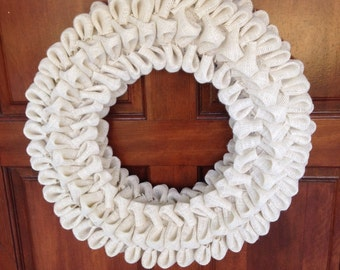 Burlap bubble wreath - Ivory Cream White - Burlap bow - Spring decor - Housewarming gift - Gift for her