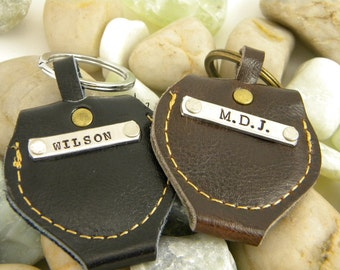 Personalized Leather Guitar Pick Case Keychain  - Pick not included