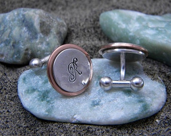 Sterling Silver and Copper Cuff Links - Personalized With Initial