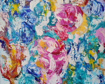 Abstract  painting titled Blue circles 12x16 Abstract Acrylic Canvas Original Painting