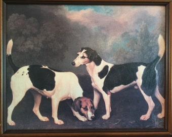 A Couple of Foxhounds George Stubbs  Reproduction DeNunzio Canvas Wood framed USA made fine art canvas reproduction