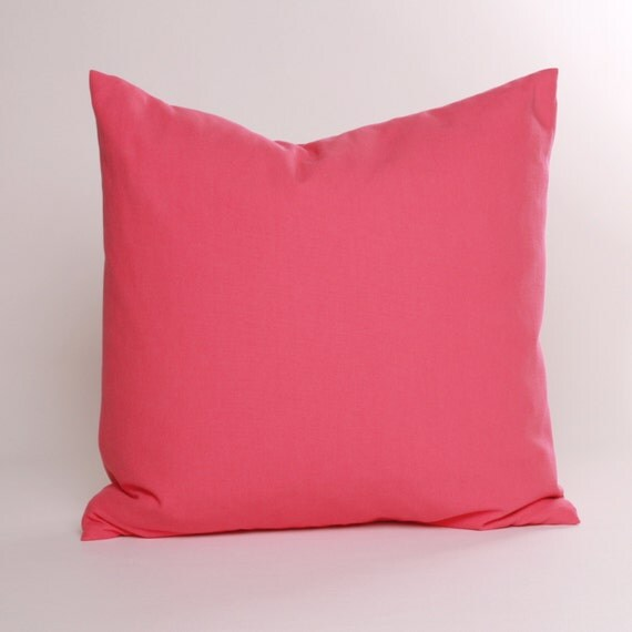 Candy Pink Solid Throw Pillow Cover 16 18 or 20 inch Cover