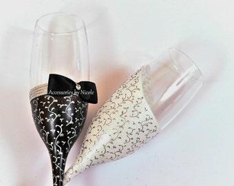 Handmade painted toasting flutes\luxury traditional\2pcs\