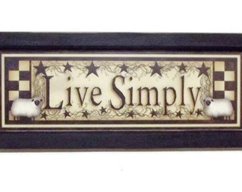 Live Simply, Sheep, Checkerboard, Star, Art Print, Primitive Home Decor, Wall Hanging, Handmade, 20X8, Custom Wood Frame, Made in the USA
