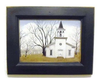 Church Picture, Amazing Grace, Billy Jacobs, Art Print, Country Decor, Wall Hanging, Handmade, 7X9, Custom Wood Frame, Made in the USA