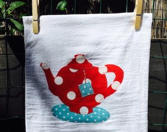 Tea towel with a cute little teapot cotton flour sack