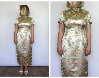 Vintage 1980's Oriental Chineese Asian Dragon Gold Dress 12 14 16 M L UK Seller